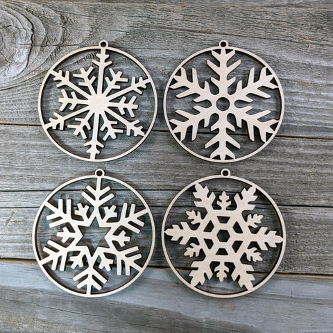 Wooden Christmas Ornament Set/Wooden Snowflake Ornaments/Rustic Christmas Ornament Pack/Elegant Wood Christmas Ornaments