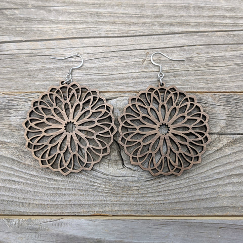 Wooden Earrings / Mandala Earrings / Bridesmaid Earrings / Intricate Earrings / Lightweight Mandala from Wood / Hypoallergenic