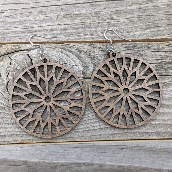 Wood Earrings/Sunburst Earrings/Wooden Earrings/Lightweight Hoop Earrings from Wood/Hypoallergenic