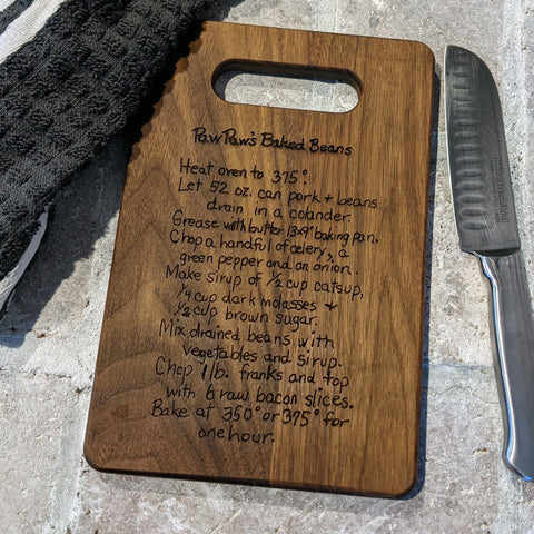 Personalized Recipe Cutting Board/Family Recipe Charcuterie/Engraved Cutting Board/Wedding Gift/Housewarming Gift