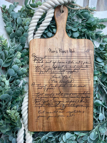 Personalized Recipe Cutting Board/Family Recipe Cutting Board/Engraved Artisan Cutting Board/Add Great-Grandma's Handwritten Recipes