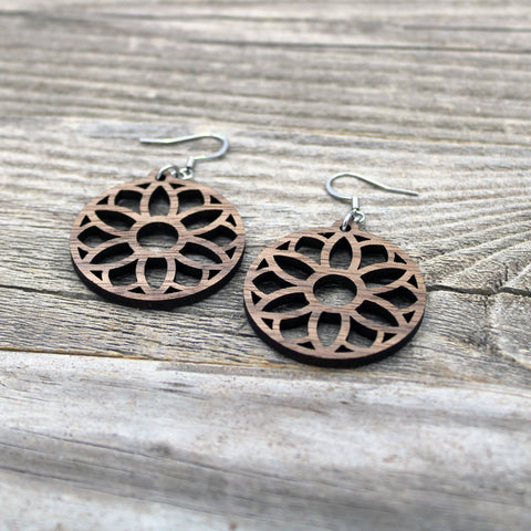 Lightweight Wooden Mandala Earrings/Intricate Earrings/Mandala from Wood/Hypoallergenic/American Black Walnut Wood