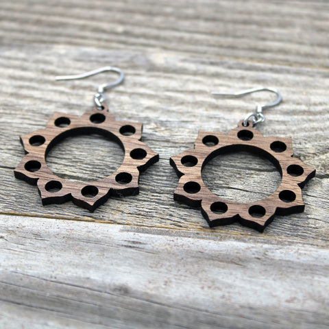 Lightweight Wooden Mandala Earrings/Wood Earrings/Mandala from Wood/Hypoallergenic/American Black Walnut