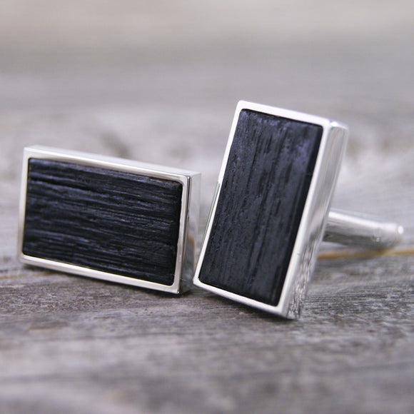 Rectangular Bourbon Barrel Stave Wood Cufflinks