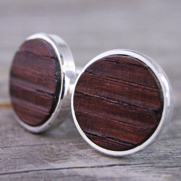 Wine Barrel Oak Wood Cufflinks in Silver Bezel - Great for Wine Lovers!
