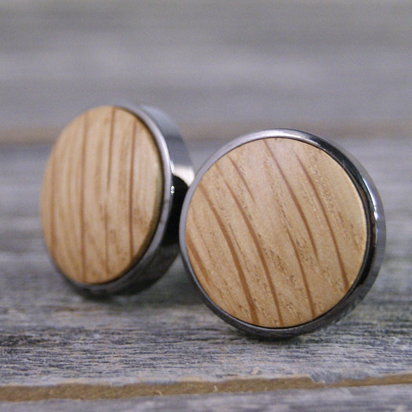Cufflinks crafted from a Whiskey Barrel in Gunmetal Bezel