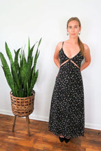 Load image into Gallery viewer, black cutout floral chiffon maxi dress