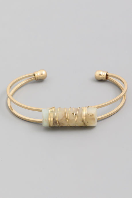Gold Gemstone Cuff Bracelet