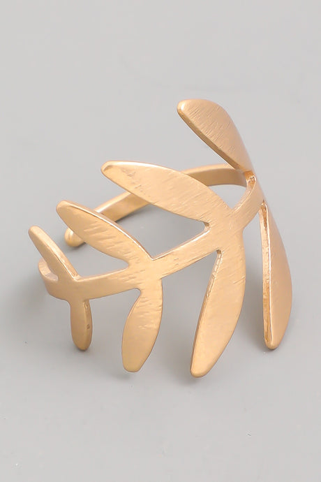 adjustable gold leaf ring