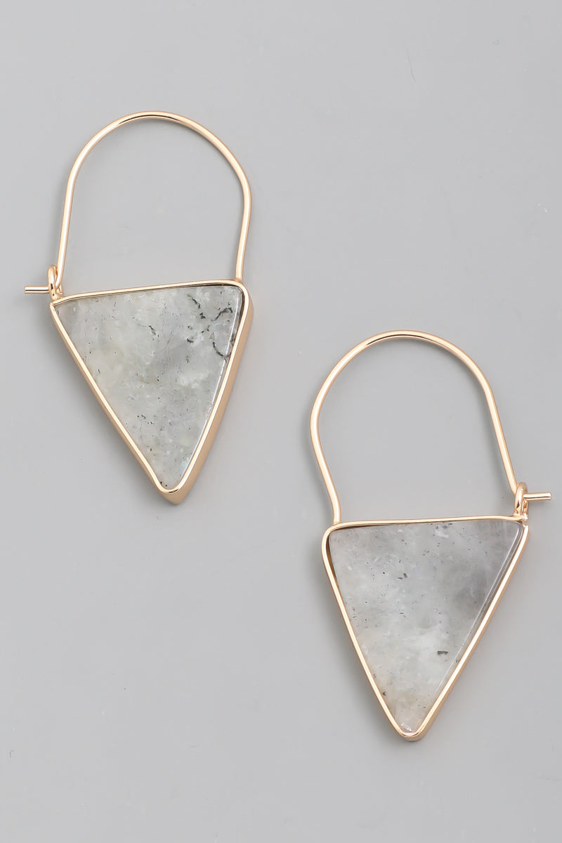 gray and gold gemstone triangle earring