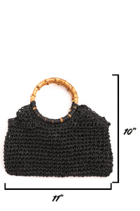 woven purse with bamboo handle