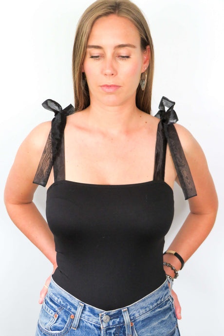 Black Bow Strap Bodysuit