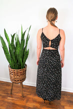 Load image into Gallery viewer, Black floral cut out maxi dress