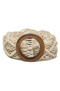 woven belt with wood circle detail