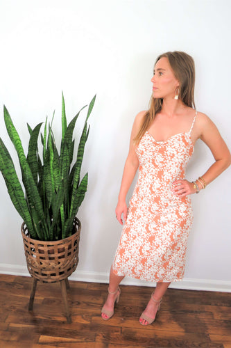 strappy peach floral slip dress