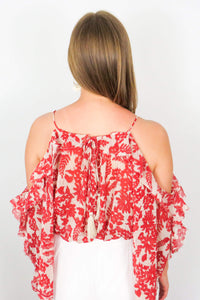 floral ruffled off the shoulder top