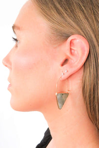 triangle stone drop earrings