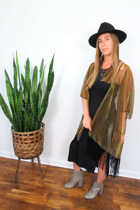 gold and black kimono with tassel