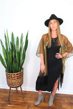 Load image into Gallery viewer, gold kimono with black fringe trim
