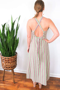 green and purple striped maxi dress with halter neck and slit detail
