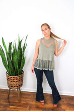 Load image into Gallery viewer, green sheer lace tunic top