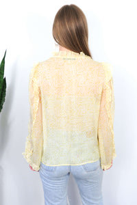 yellow chiffon shirt