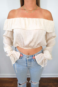 Ivory Long Sleeve Off the Shoulder Top