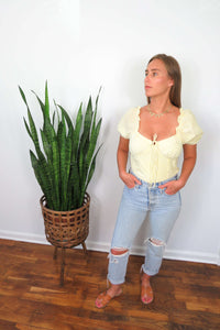 Yellow Seersucker Crop Top
