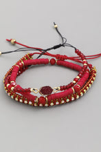 Load image into Gallery viewer, red adjustable bracelet pack