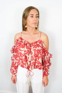red floral cold shoulder top