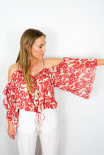 Load image into Gallery viewer, red floral off the shoulder shirt