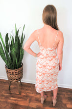 Load image into Gallery viewer, floral peach midi dress with spaghetti straps