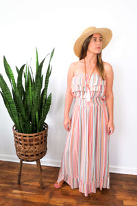Pink striped sleeveless maxi dress