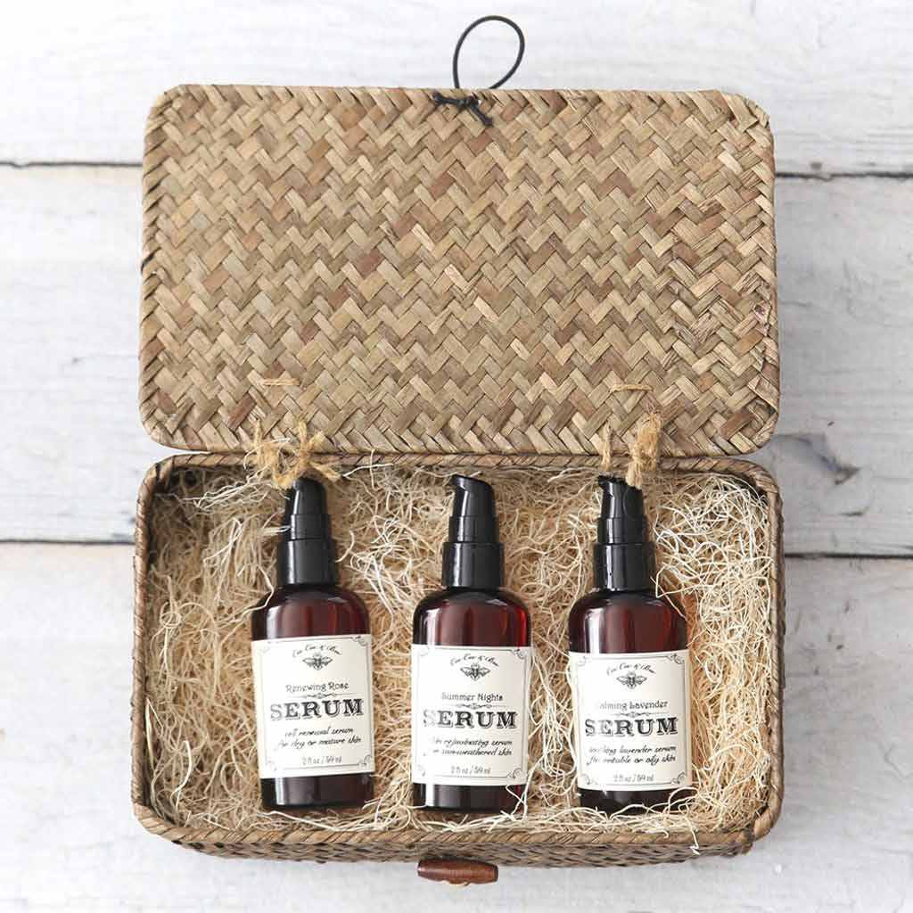 Skin Serum Gift Set in Sea Grass Keepsake Box