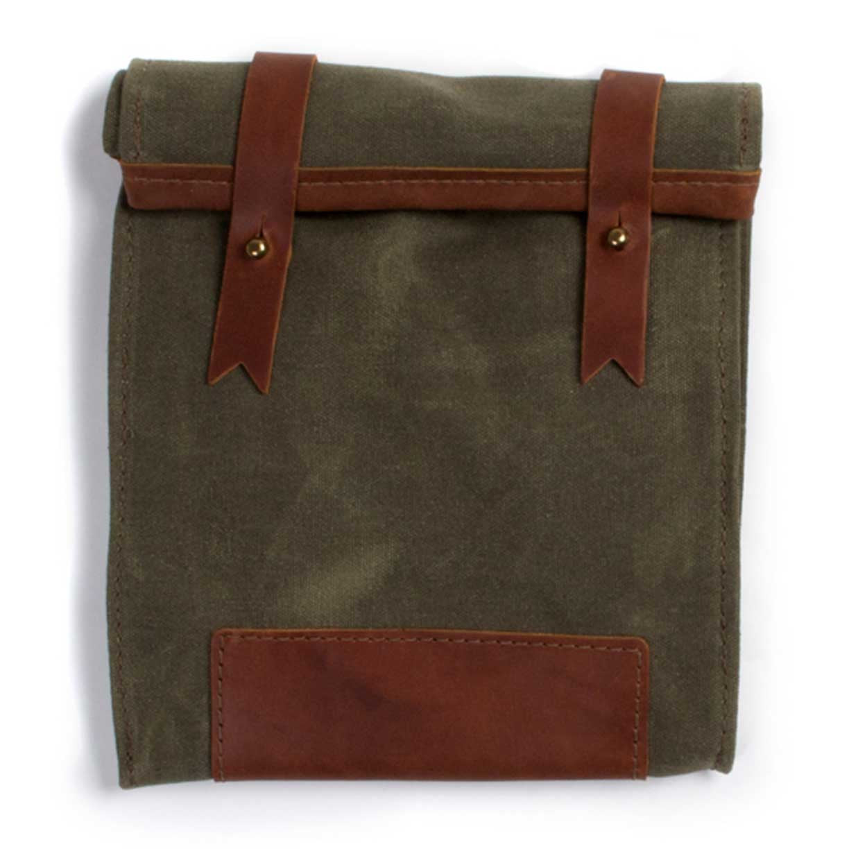 Wayfarer Waxed Canvas Lunch Bag, Saddle Leather with Olive Green