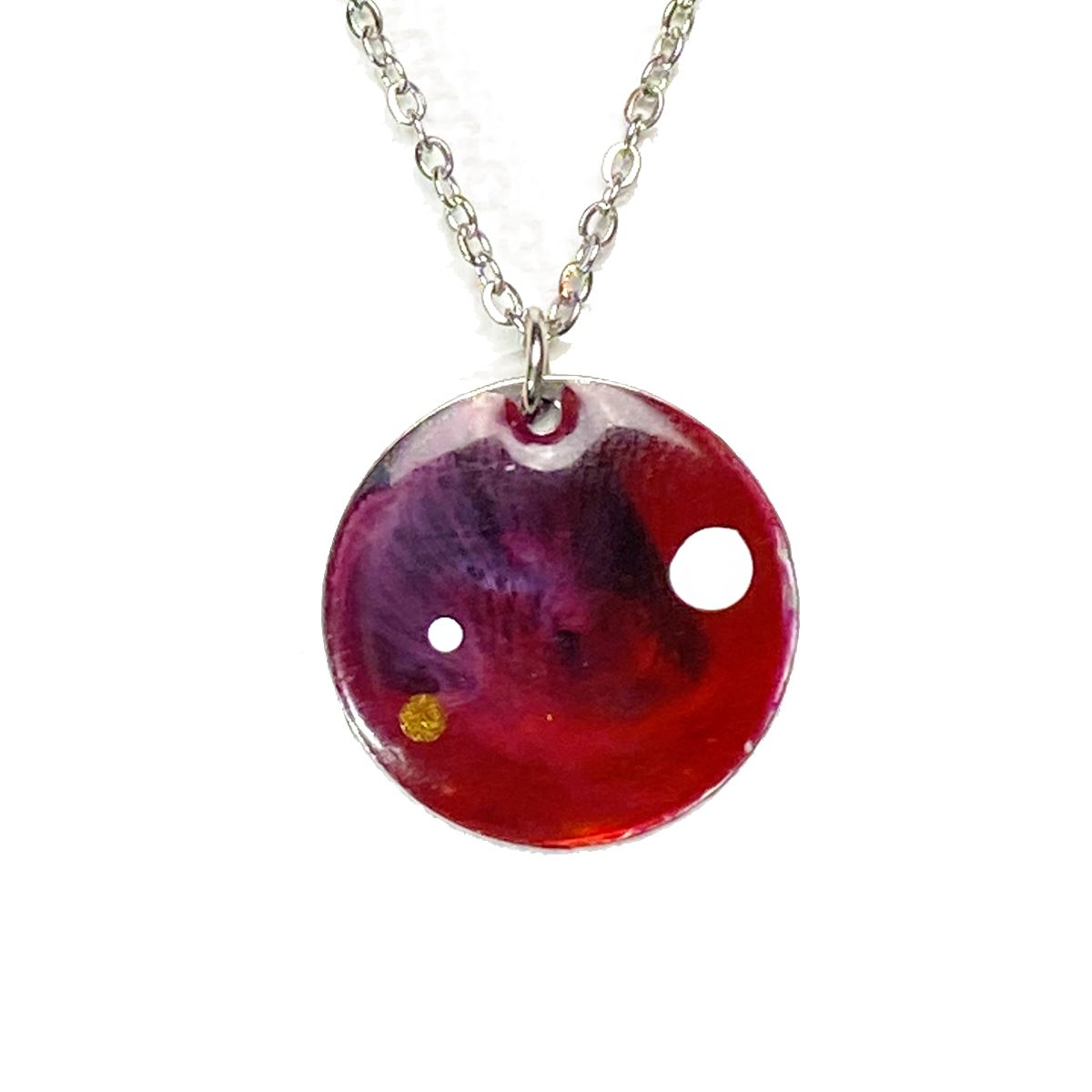 Color Study - medium red with white dots necklace necklace Deanna Dot Store