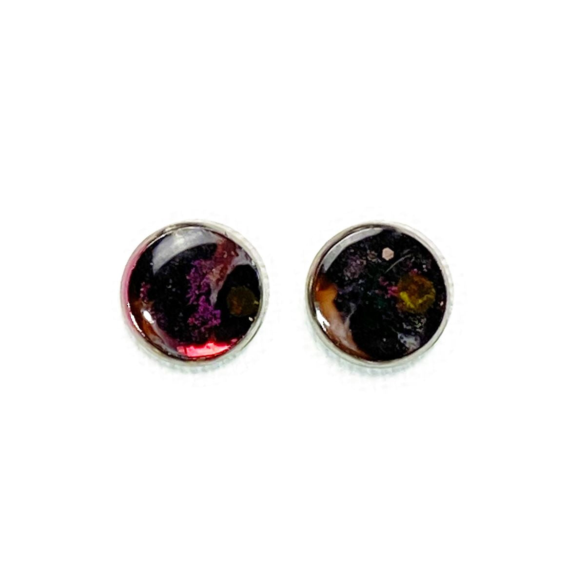 Nebulae - purple black 12mm stud earrings Deanna Dot Store