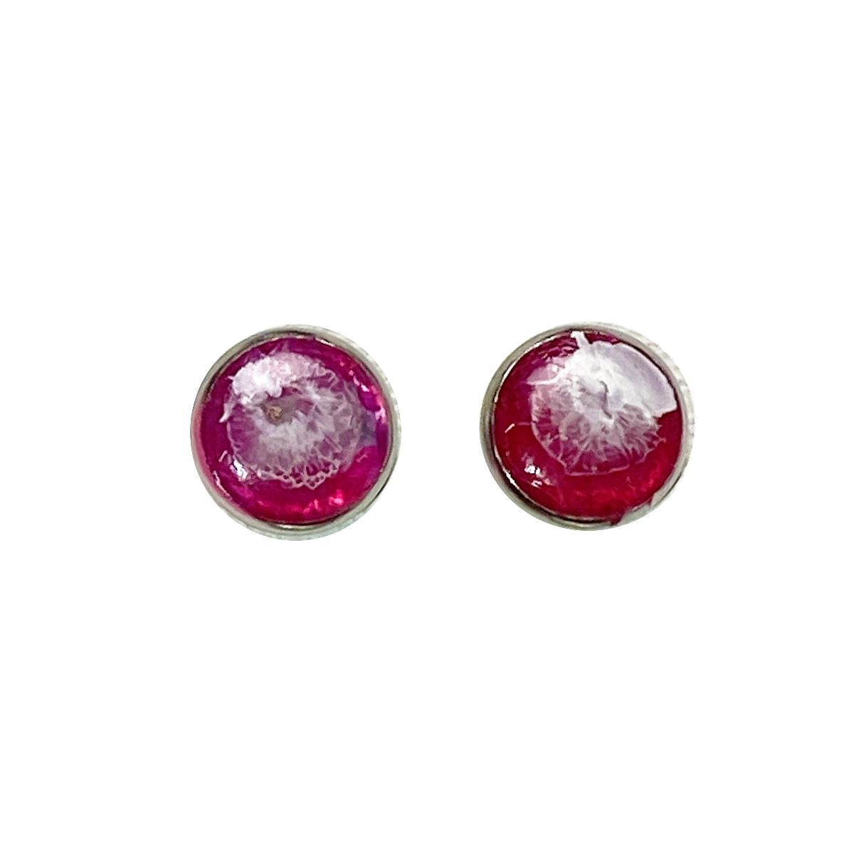 Color Study - pink white 12mm stud earrings Deanna Dot Store
