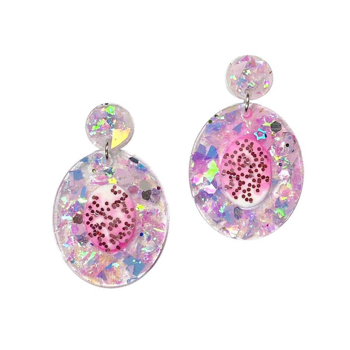 Unicorn Dreams - pink confetti resin earrings earrings Deanna Dot Store