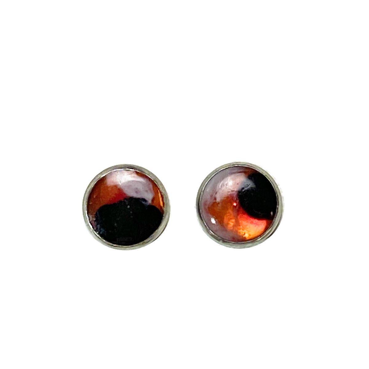 Color Study - pink black white 12mm stud earrings Deanna Dot Store