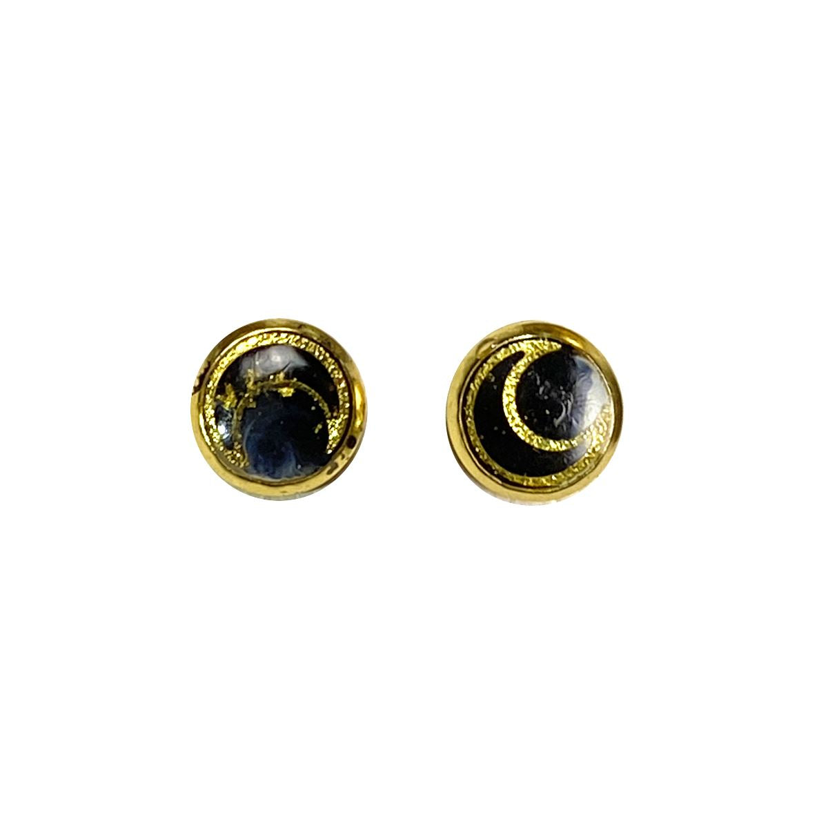 Celestial - moons gold 8mm stud earrings Deanna Dot Store