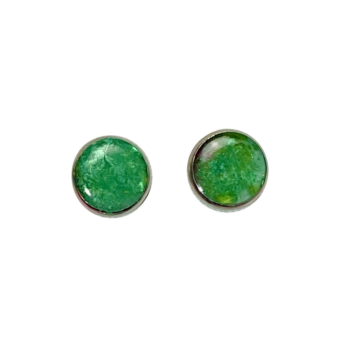 Color Study - green 12mm stud earrings Deanna Dot Store