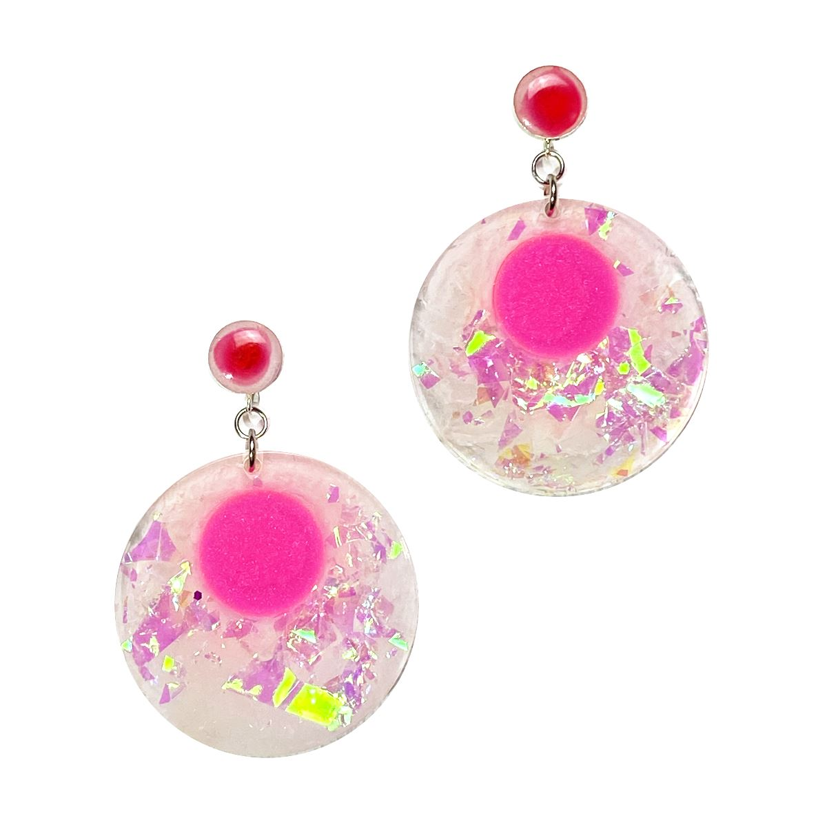 Unicorn Dreams - holographic pink disc drop stud earrings earrings Deanna Dot Store