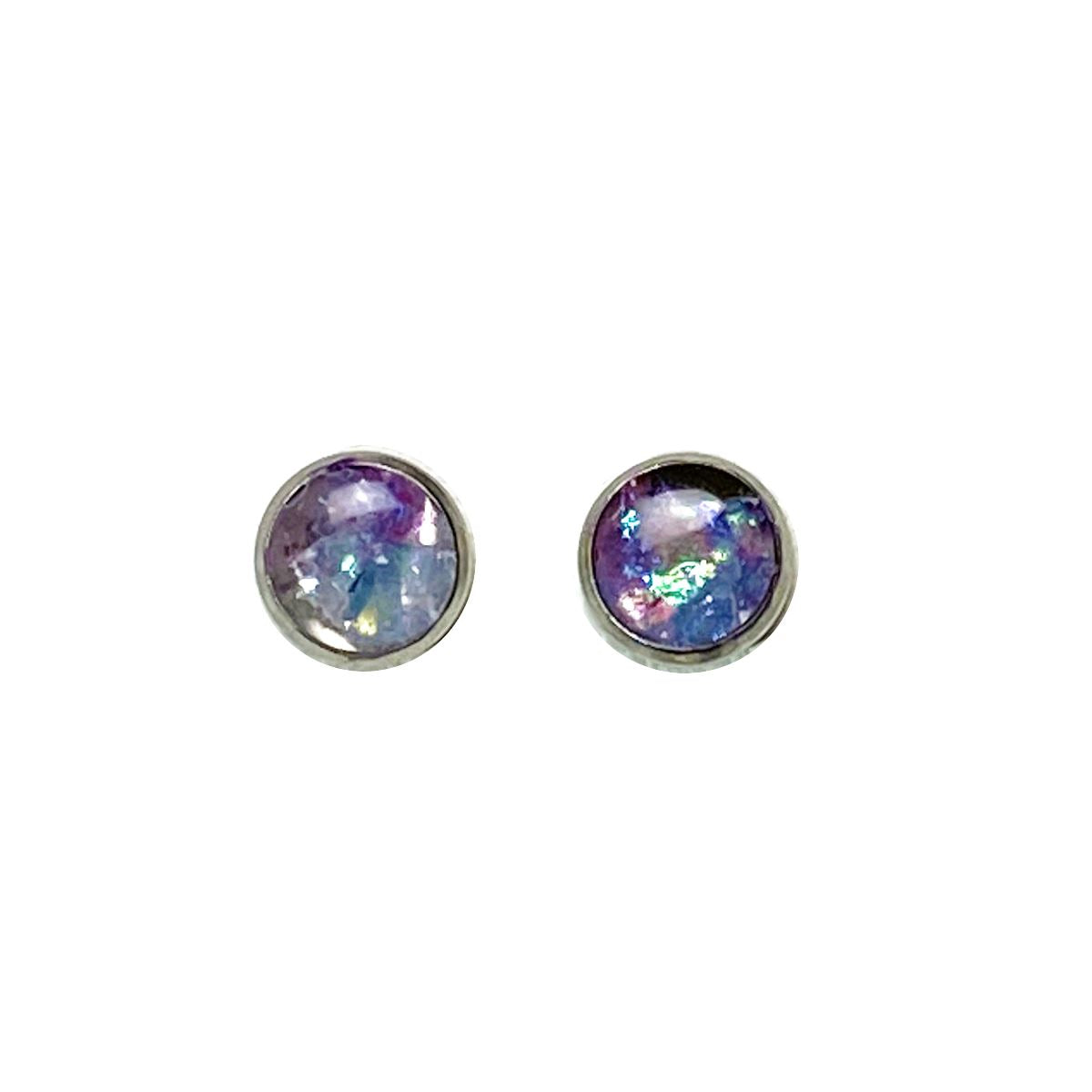 Unicorn Dreams - holographic lavender 8mm stud earrings Deanna Dot Store