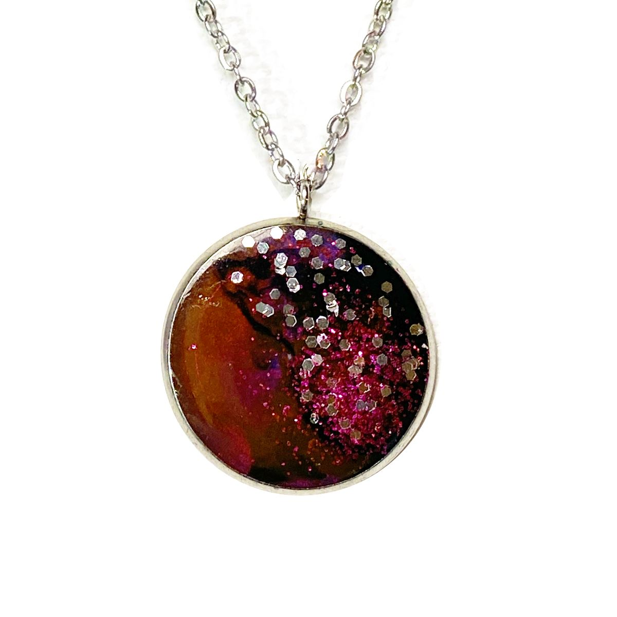 Color Study - large red pink and black glitter necklace necklace Deanna Dot Store
