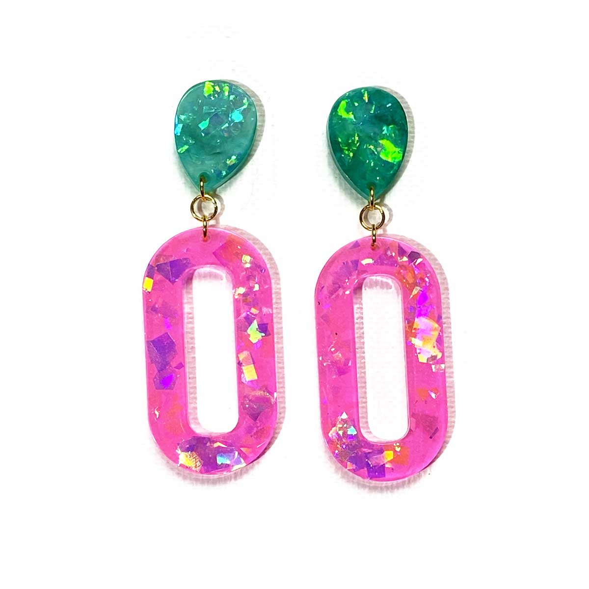 Unicorn Dreams - holographic pink and jade pill drop earrings earrings Deanna Dot Store