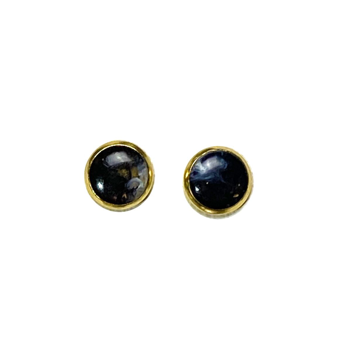 Celestial - mostly black gold 8mm stud earrings Deanna Dot Store