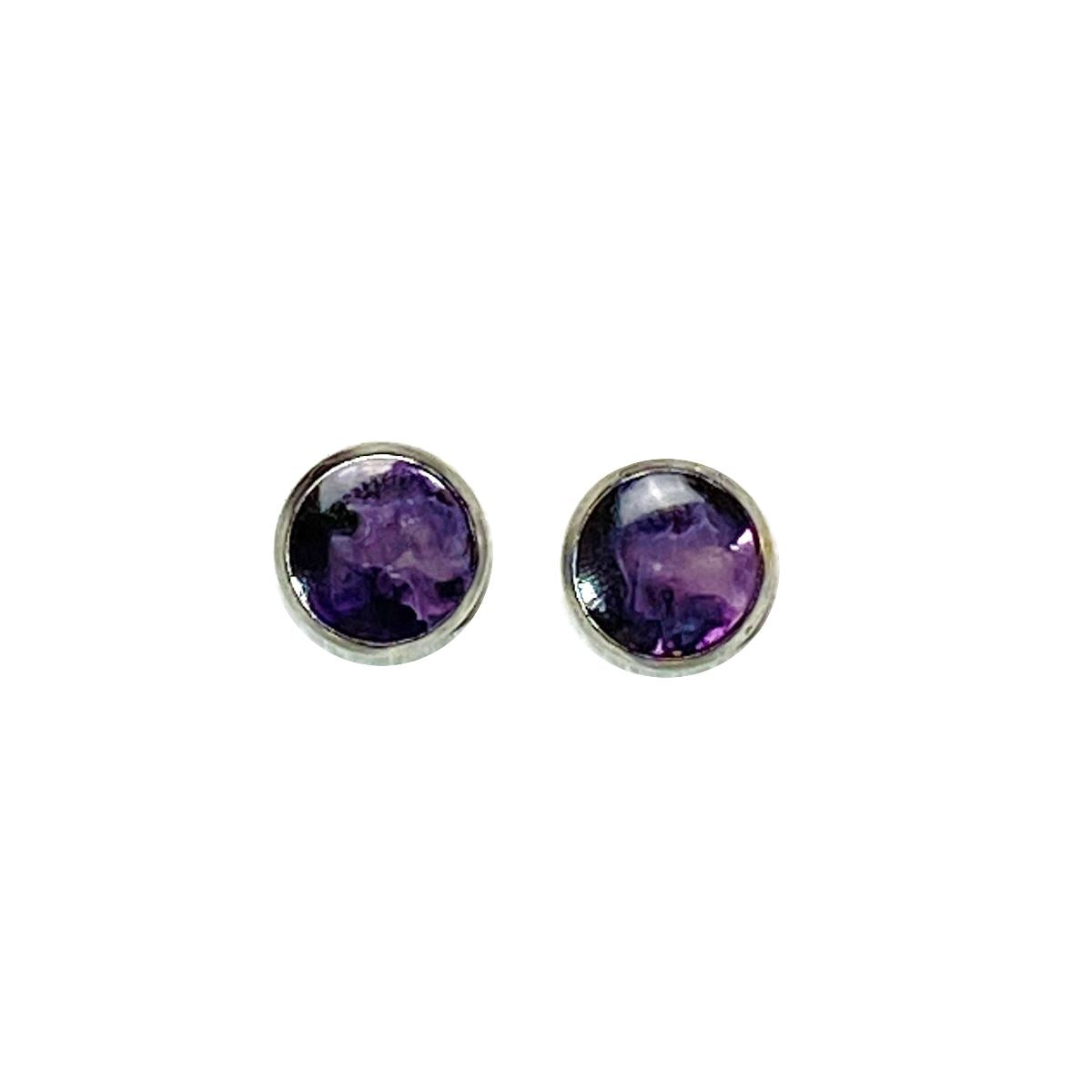 Nebulae - purple black 8mm stud earrings Deanna Dot Store