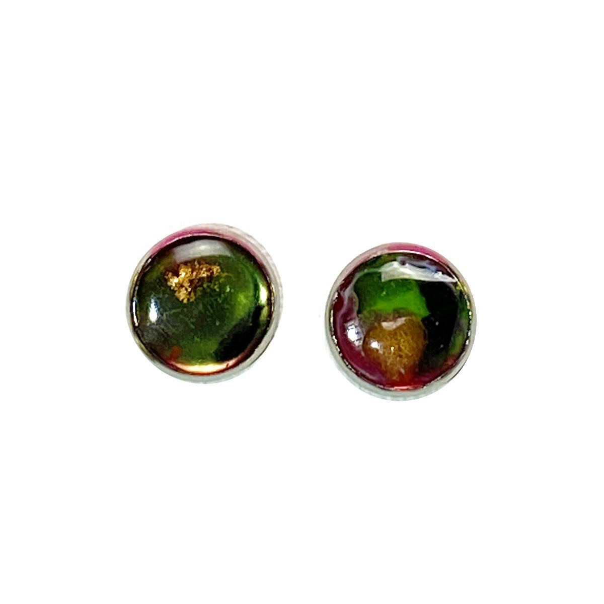 Color Study - pink green black gold 12mm stud earrings Deanna Dot Store