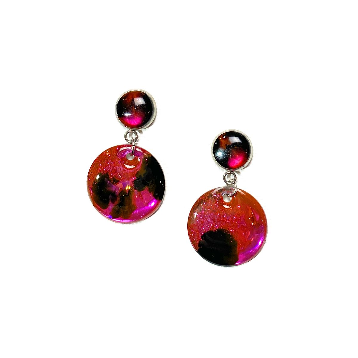 Color Study - medium pink black glitter drop stud earrings earrings Deanna Dot Store